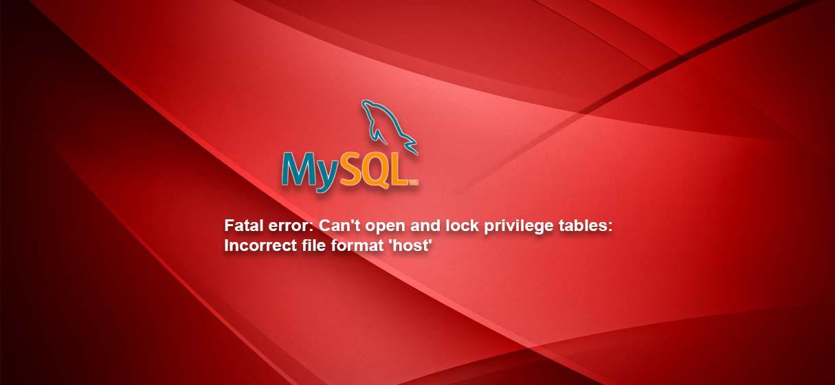 Mysql incorrect format hosts