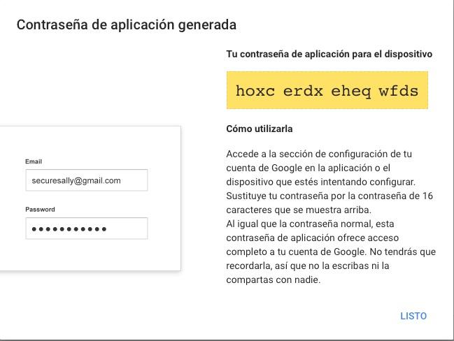 Contraseñas de aplicación generadas para Gmail