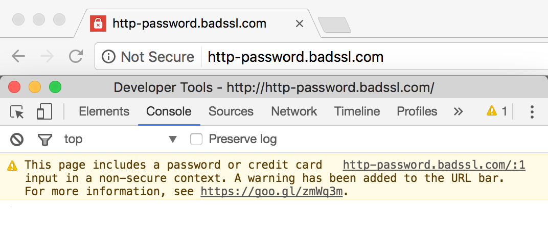 Google Chrome not secure warning