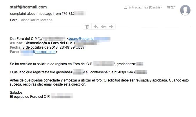 Ejemplo de calificación como SPAM por Microsoft / Hotmail