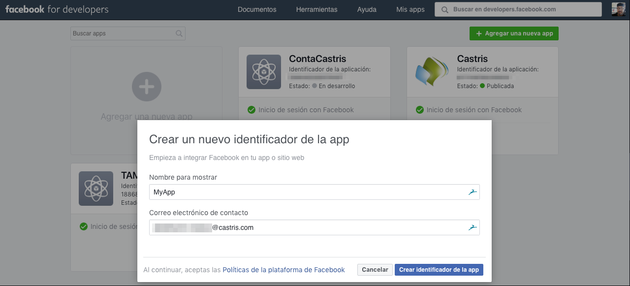 Crear app Facebook for Developers