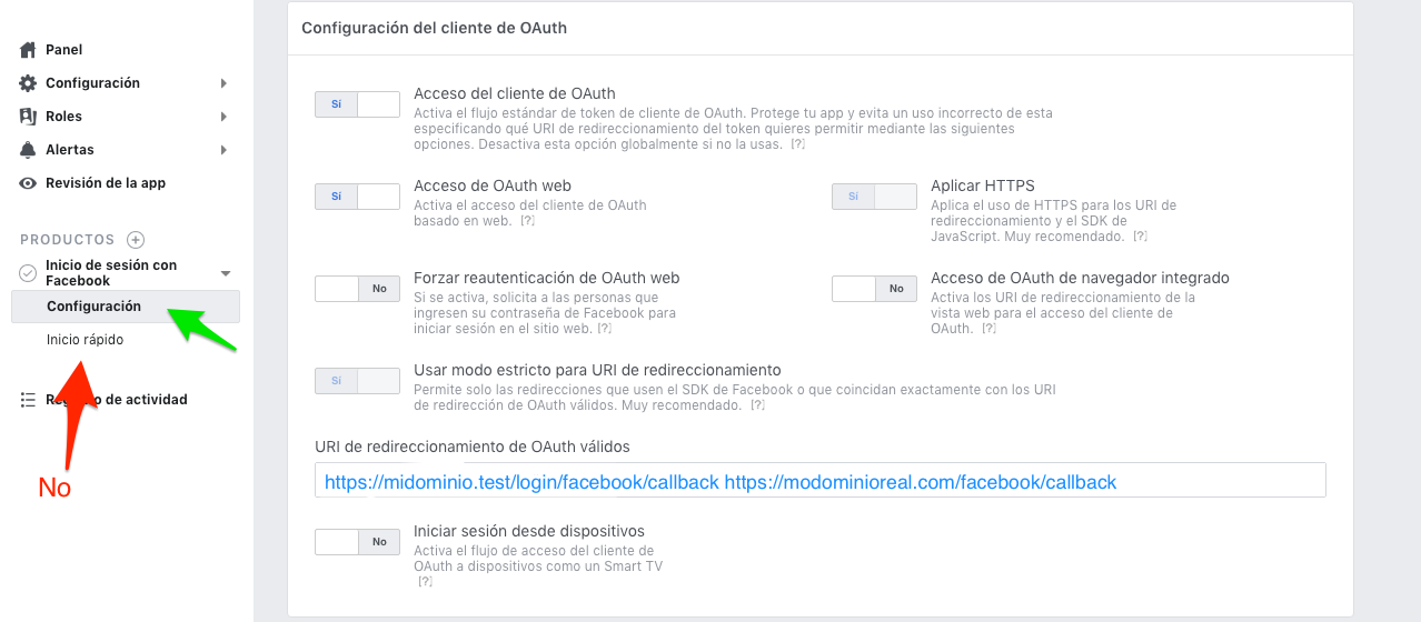 Crear app Facebook for Developers :: Configuración cliente OAuth