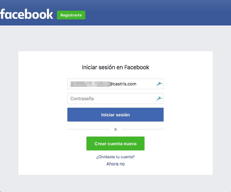 Inicio de sesión con Facebook