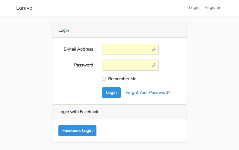 Página login Laravel con Facebook