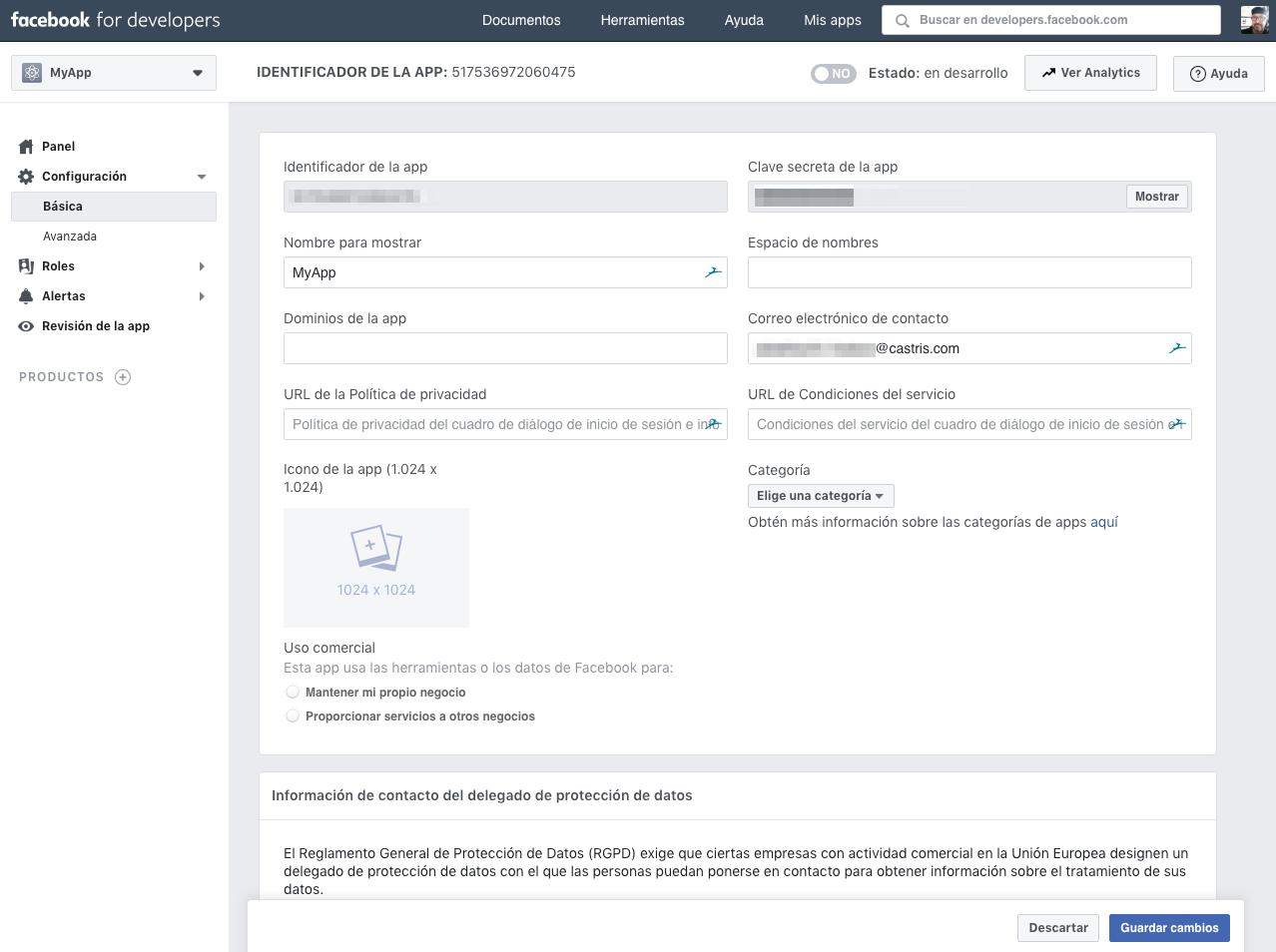 Crear app Facebook for Developers :: Configuración Básica